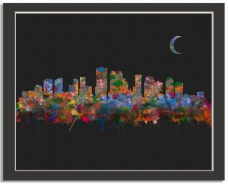 New Orleans Louisiana City Skyline Watercolor