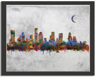 Houston Texas City Skyline Watercolor Faux