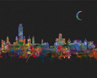 Albany New York City Skyline Watercolor Faux Black Pixel Background #AD-1004