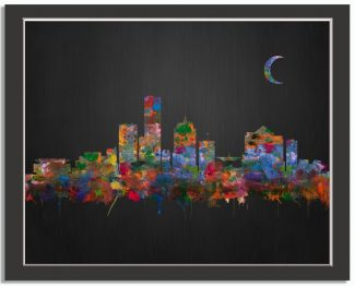 Milwaukee Wisconsin City Skyline Watercolor Brushed