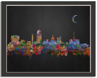 Lansing Michigan City Skyline Watercolor Brushed