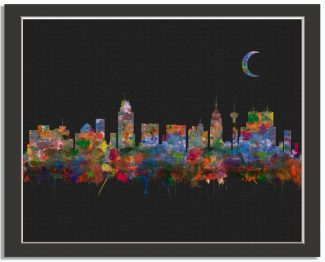San Antonio Texas City Skyline Watercolor