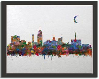 Lansing Michigan City Skyline Watercolor Faux