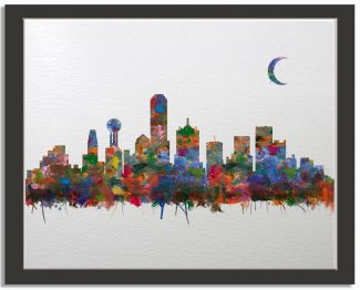Dallas Texas City Skyline Watercolor Faux