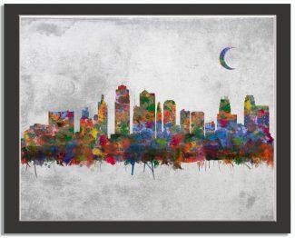 Kansas City Missouri City Skyline Watercolor