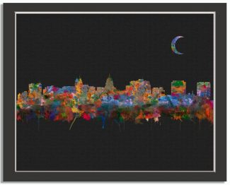 Madison Wisconsin City Skyline Watercolor Faux