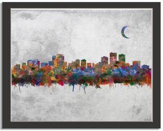 Anchorage Alaska City Skyline Watercolor Faux Stone Background #AD-1007