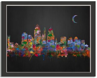 Cincinnati Ohio City Skyline Watercolor Brushed