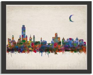 Albany New York City Skyline Watercolor Faux Vintage Background #AD-1005
