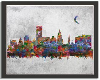 Providence Rhode Island City Skyline Watercolor