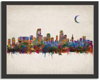 Miami Florida City Skyline Watercolor Faux