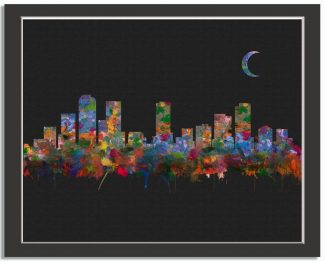 Denver Colordado City Skyline Watercolor Faux