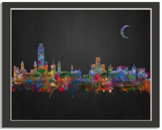 Albany New York City Skyline Watercolor Brushed Black Background #AD-1001