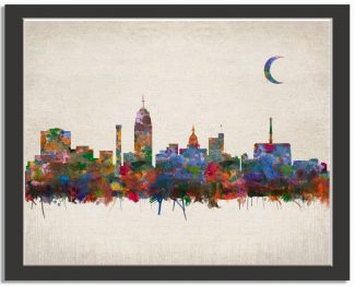 Lansing Michigan City Skyline Watercolor Faux