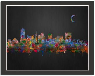 Memphis Tennessee City Skyline Watercolor Brushed