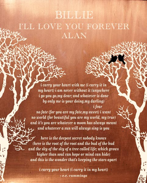 You are currently viewing I Carry Your Heart Bare Trees Love Birds Winter Wedding Personalized For Alan