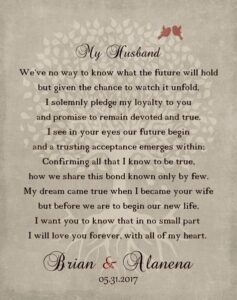 Read more about the article Wedding Day Pledge For From Wife Husband My Love Poem Keepsake Gift Personalized For Alanena