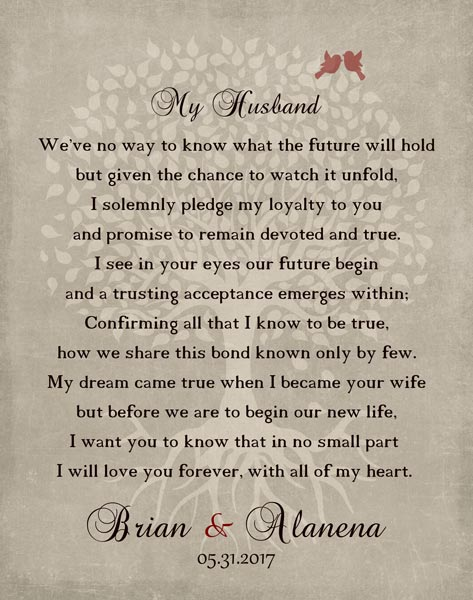 Wedding Day Pledge For From Wife Husband My Love Poem Keepsake Gift Personalized For Alanena