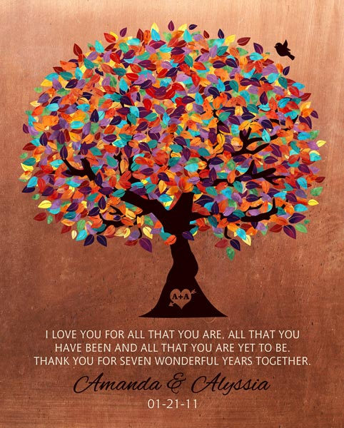 You are currently viewing For Her Seven Year Anniversary Faux Copper Background Colorful Leaves Gift Personalized For Amanda
