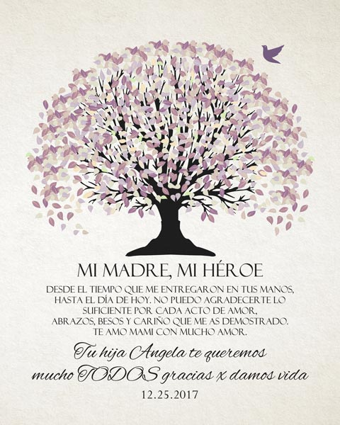 Thank You Mom In Spanish Purple Canopy Gift Personalized For Angela