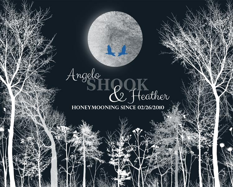 You are currently viewing Gift for Wife, Anniversary Gift of Tin Aluminum, Honeymoon Winter Trees, Gift for Couple – Personalized for Angelo S.