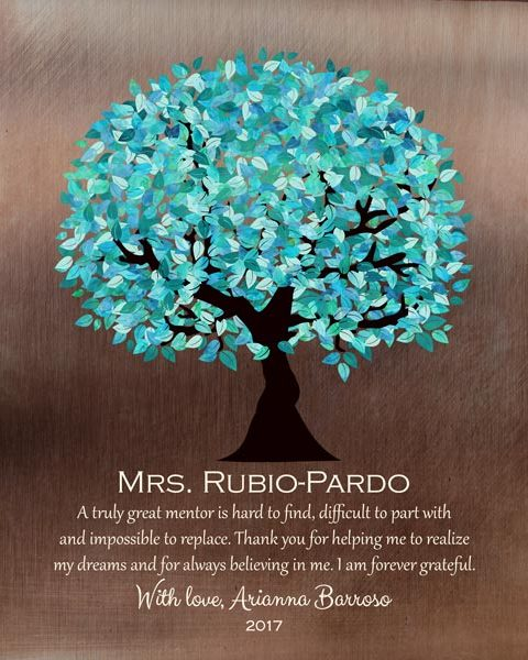 Mentor Faux Bronze Turquoise Tree Boss Preceptor Teacher Couple Gift Personalized For Arianna