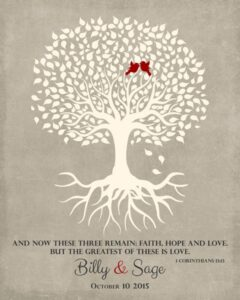 Wedding Tree Roots Love Birds Tree Of Life Corinthians Gift Personalized For Billy