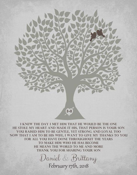 Thank You To Parents For Mother Of Groom Family Tree Wedding Gift Personalized For Brittany