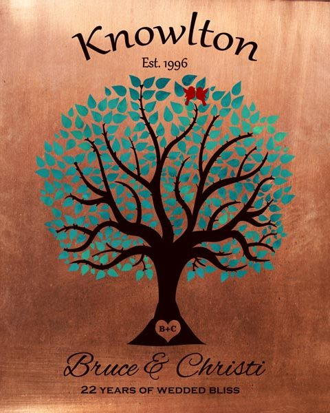 22 Year Anniversary Traditional Wedding Tree Faux Copper Turquoise Gift Personalized For Bruce
