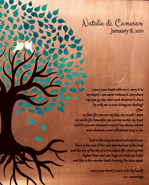 Traditional Faux Copper I Carry Your Heart Tree Roots Gift Personalized For Cameron