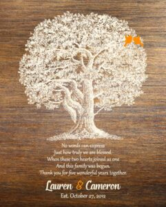 Wedding Anniversary Family Wedding Tree Gift Faux Wood Personalized For Cameron