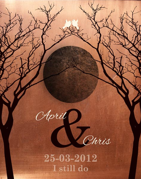 Gift for Wife, 7 Year Anniversary, Full Moon, Faux Copper, Fall Wedding Anniversary – Personalized for Chris L.
