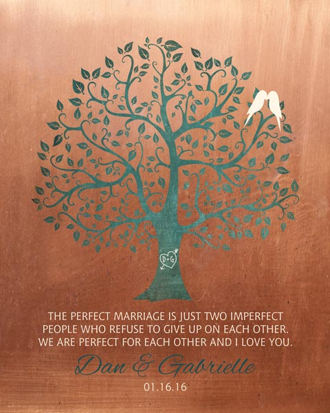 You are currently viewing Mounted Canvas Perfect Marriage Imperfect People Faux Copper  Turquoise Wedding Art Gift Personalized For Daniel