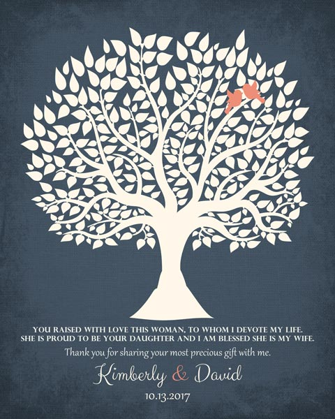 Thank You Parents Wedding Tree Mother Of Bride From Groom Gift Personalized For David
