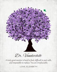 Boss Truly Great Mentor Teacher Friend Colleague Purple Watercolor Tree Gift Personalized For Elizabeth