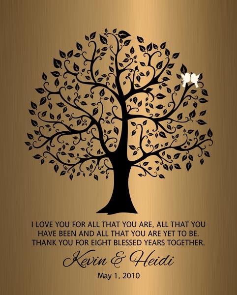 Wedding Tree Faux Bronze Onyx Eighth Year Married Wedding Gift Personalized For Heidi