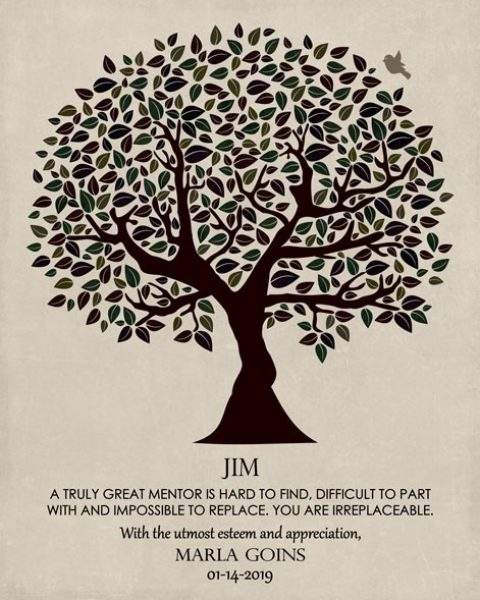 Gift for Boss, Gift for Mentor, Dark Brown and Green Tree on Cream Background – Personalized for James R.