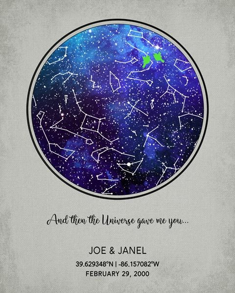 Gift for Couple, Wedding Gift, Sapphire Custom Star Map – Personalized for Janel B.