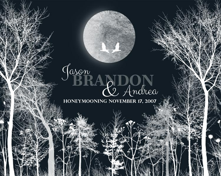 Honeymoon Winter Trees Wedding Anniversary Gift Personalized For Jason
