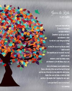 I Carry Your Heart With Me Colorful Spring Wedding Tree Personalized For Jean