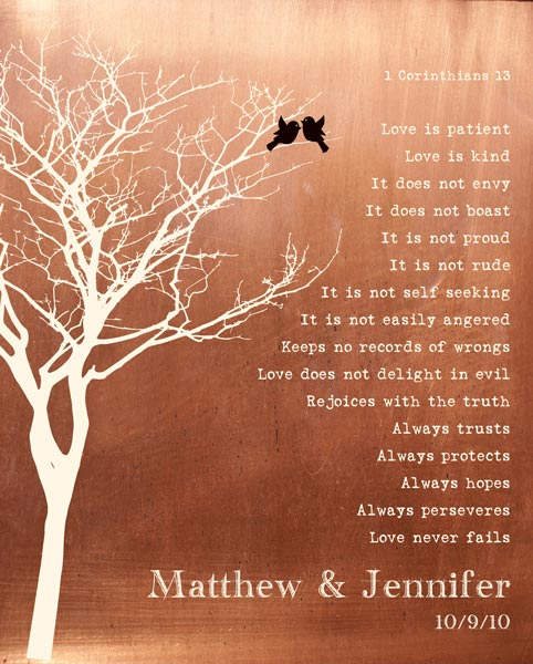 You are currently viewing Bare Tree Love Birds Faux Copper Background Love Is Patient Gift Personalized For Jennifer
