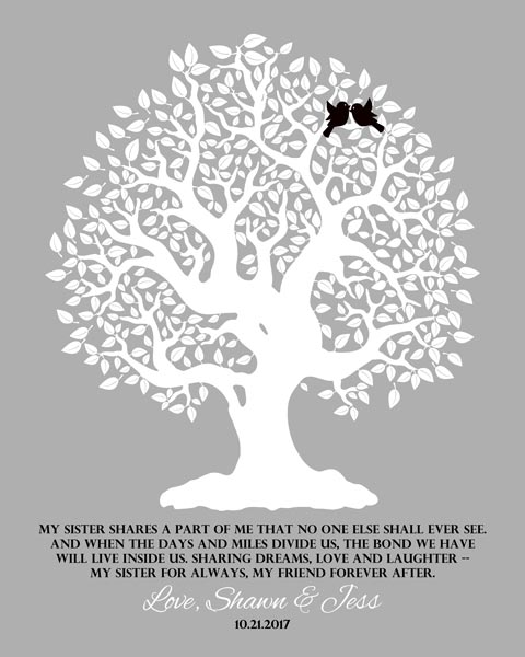 Sister Family Tree A Part Of Me From Sister To Sister Gift Personalized For Jessica