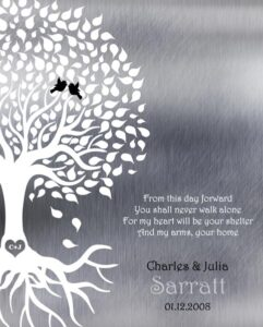 Love Poem From This Day Forward Tree Silhouette Roots Shiny Metal Engagement Gift Personalized For Julia