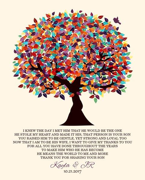 I Knew The Day Oak Fruit Tree Wedding Poem Thank You Gift Personalized For Kayla
