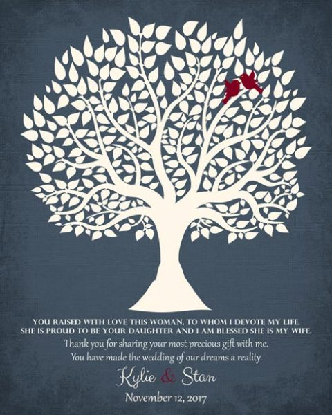 Thank You To The Mother Of The Groom Family Tree Wedding Gift Personalized For Kylie