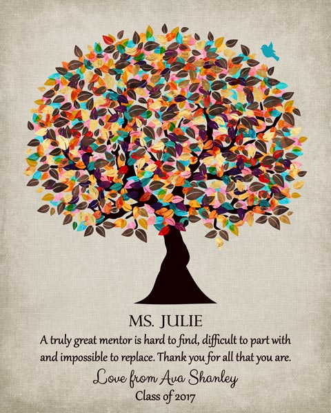Graduation Coworker Teacher Professor Boss Mentor Watercolor Tree Gift Personalized For Linda
