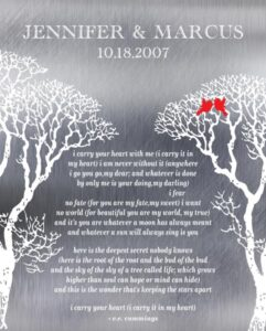 Read more about the article I Carry Your Heart Bare Trees Winter Love Birds Shiny Scratch Metal Effect Gift Personalized For Marcus