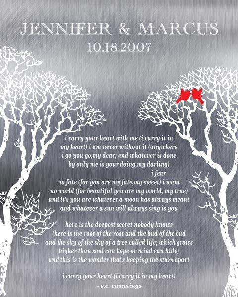 I Carry Your Heart Bare Trees Winter Love Birds Shiny Scratch Metal Effect Gift Personalized For Marcus