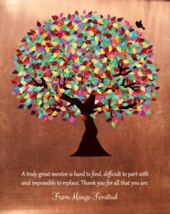 Read more about the article Mentor Gift Faux Copper Background Colorful Tree Of Life Personalized For Magaret