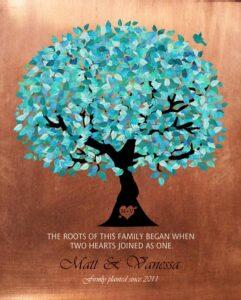 Seven Year Anniversary Faux Copper Wedding Tree Art Gift Personalized For Matt